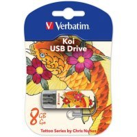 USB накопитель Verbatim 8Gb Store n Go Mini Tattoo Koi белый/узор