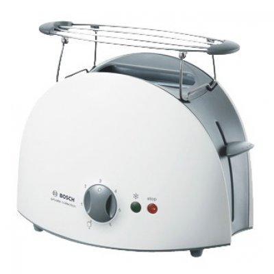 Тостер Bosch TAT6101 (TAT6101)Тостеры Bosch<br>на 2 тоста, мощность 900 Вт, механическое управление, функция размораживания, ненагревающийся корпус, решетка для булочек, отсек для сетевого шнура<br>