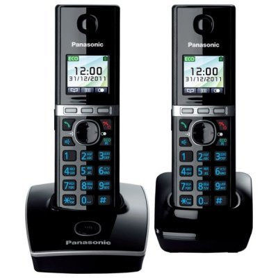 Радиотелефон Panasonic KX-TG8052 черный (KX-TG8052RUB) радиотелефон dect panasonic kx tg8551rub черный аон