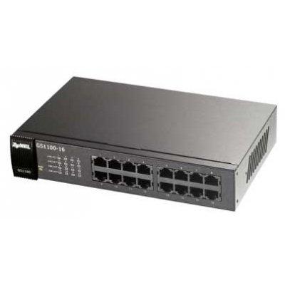 Коммутатор ZyXEL GS1100-16 (GS1100-16)Коммутаторы ZYXEL<br>16-портовый коммутатор Gigabit Ethernet<br>