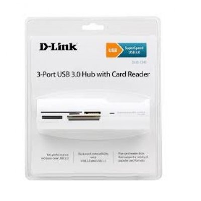 USB концентратор D-Link DUB-1343 (DUB-1342)USB концентраторы D-Link<br>3-Port USB 3.0 Hub with Card Reader<br>