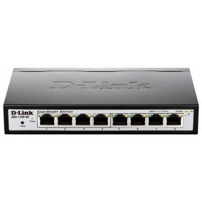 Коммутатор D-Link DGS-1100-08 (DGS-1100-08/A1A)Коммутаторы D-Link<br>8 10/100/1000BASE-T ports Easy Smart Gigabit Ethernet Switches with Web<br>