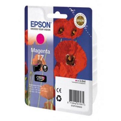 Картридж струйный (C13T17034A10) Epson для XP33/203/303 фиолетовый (C13T17034A10)Картриджи для струйных аппаратов Epson<br>Картридж струйный Epson C13T17034A10 magenta для XP33/203/303 (150 стр)<br>