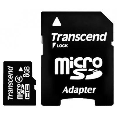 Карта памяти Transcend 8Gb microSDHC class 4 TS8GUSDHC4 (TS8GUSDHC4)Карты памяти Transcend<br>Флеш карта microSDHC 8Gb class4 + adapter Transcend (TS8GUSDHC4)<br>
