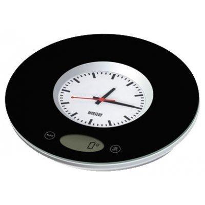 Кухонные весы Mystery MES-1814 (MES-1814)Весы кухонные Mystery<br>электронные, платформа для взвешивания, нагрузка до 3 кг, точность измерения 1 г, встроенные часы, автовыключение, стеклянная платформа<br>