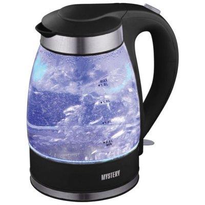 Электрический чайник Mystery MEK-1627 черный, стеклянный (MEK-1627 черный)Электрические чайники Mystery<br>чайник, объем 1.8 л, мощность 2000 Вт, дисковый нагреватель, установка на подставку в любом положении, корпус из пластика и стекла, подсветка корпуса<br>