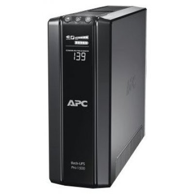 Источник бесперебойного питания APC Back-UPS Pro 1500VA, AVR, 230V, CIS (BR1500G-RS)Источники бесперебойного питания APC<br>1500VA/865W, 230V, AVR, 6xRus outlets (3 Surge &amp;amp; 3 batt.), Data/DSL protrct, 10/100 Base-T, USB, PCh, user repl. batt., 2 y warr.<br>