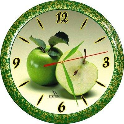 Часы настенные Вега П 1-382/7-71 (П 1-382/7-71)Часы настенные Вега <br>Зеленое яблоко Кухня<br>
