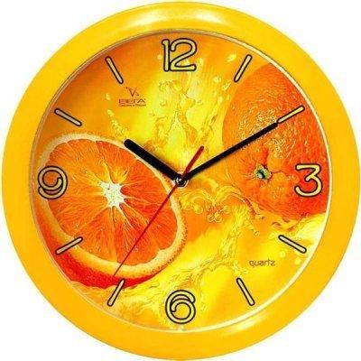 Часы настенные Вега П 1-2/7-11 (П 1-2/7-11)Часы настенные Вега <br>Настенные часы Vega П1-2/7 11 с оригинальным дизайном украсят интерьер любой комнаты. Это небольшие часы с высококачественным кварцевым механизмом и плавным ходом секундной стрелки. На циферблате круглой формы, который выполнен из стекла, изображен сочный апельсин.<br>