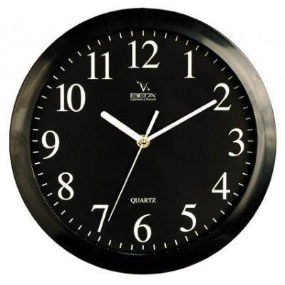 Часы настенные Вега П 1-6/6-6 (П 1-6/6-6)Часы настенные Вега <br>Черные Арабские Классика<br>