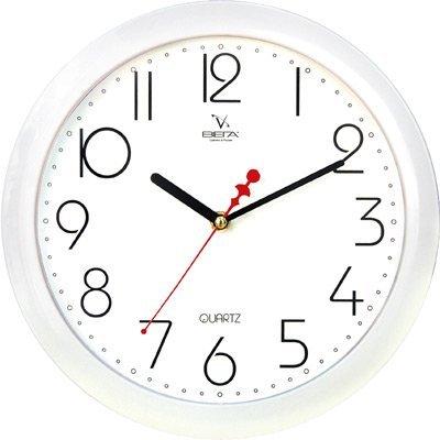 Часы настенные Вега П 1-7/7-4 (П 1-7/7-4)Часы настенные Вега <br>Белые арабские точка Классика<br>