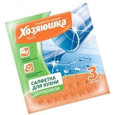 Салфетка бытовая Хозяюшка Мила 04014 (Мила 04014)Салфетки бытовые Хозяюшка Мила<br>Салфетка бытовая целлюлоза 15*17 см, 3 штуки ХОЗЯЮШКА Мила<br>Плотная упругая структура салфетки быстро и эффективно впитывает жидкость, не оставляет разводов на поверхности. <br>Предназначена для влажной уборки — мытья и вытирания посуды, окон, кухонных плит и столовых приборов, сантехники и кафеля. <br>Эфф ...<br>