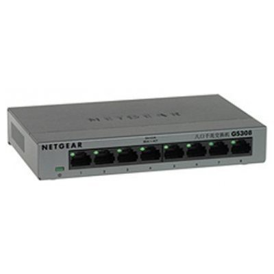 Коммутатор Netgear GS308 (GS308-100PES)Коммутаторы Netgear<br>NETGEAR 8-port 10/100/1000 Mbps switch with external power supply,metallic case<br>