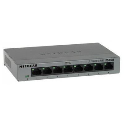 Коммутатор Netgear FS308 (FS308-100PES)Коммутаторы Netgear<br>NETGEAR 8-port 10/100 Mbps switch with external power supply,metallic case<br>