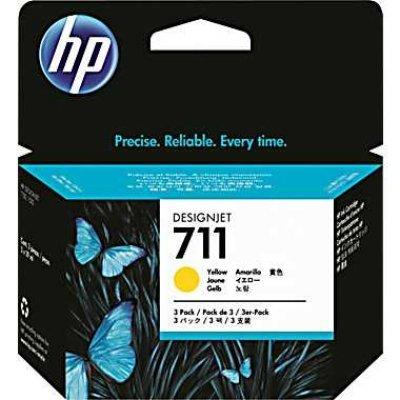 Набор картриджей HP №711 (CZ136A) для Designjet T120/T520, 3шт, желтый (CZ136A)Картриджи для струйных аппаратов HP<br>3*29мл<br>