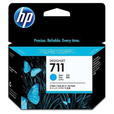 Набор картриджей HP №711 (CZ134A) для Designjet T120/T520, 3шт, голубой (CZ134A)Картриджи для струйных аппаратов HP<br>3*29мл<br>