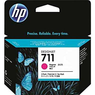 Набор картриджей HP №711 (CZ135A) для Designjet T120/T520, 3шт, пурпурный (CZ135A)Картриджи для струйных аппаратов HP<br>3*29мл<br>