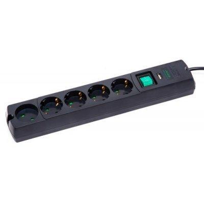 Сетевой фильтр Most LRG 1.7м USB черный (LRG-USB 5-1.7BK)Сетевые фильтры Most<br>5 розеток 1.7m<br>