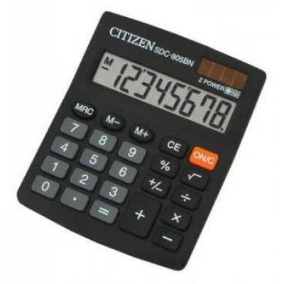 Калькулятор Citizen SDC-805 (SDC-805)Калькуляторы CiTiZeN<br>/ 8 разрядов, 125х103, двойное питание, большой дисплей<br>