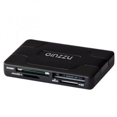 Картридер Ginzzu GR-416B USB2.0 All-in-one black (GR-416B) inov 8 сумка all terrain kitbag black