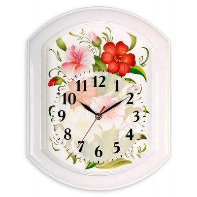 Часы настенные Вега П 2-7/7-3 (П 2-7/7-3)Часы настенные Вега <br>Цветы на болом<br>