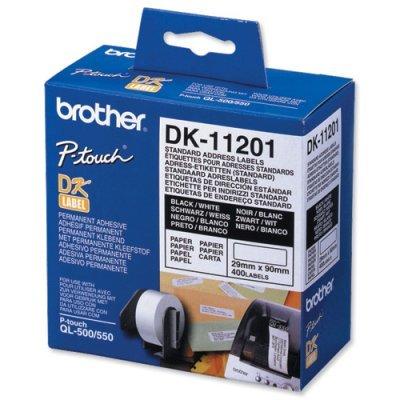 Наклейки Brother DK11201 адресные стандартные (29мм x 90мм) для QL-570 (DK11201)Наклейки к принтерам для этикеток Brother<br>рулон 400шт<br>