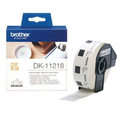 Наклейки Brother DK11218 круглые (диаметр 24мм) для QL-570 (DK11218)Наклейки к принтерам для этикеток Brother<br>рулон 1000шт<br>