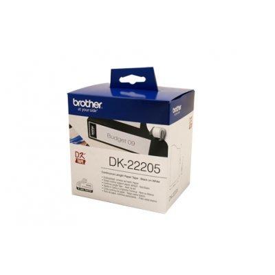 Бумажная лента Brother DK22205 для наклеек белая (62мм х 30,48м) для QL-570 (DK22205)Пленки к принтерам для этикеток Brother<br>неразрезанная<br>