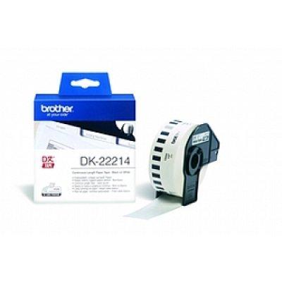 Бумажная лента Brother DK22214 для наклеек белая (12мм х 30,48м) для QL-570 (DK22214)Пленки к принтерам для этикеток Brother<br>неразрезанная<br>