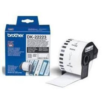 Бумажная лента Brother DK22223 для наклеек белая (50мм х 30,48м) для QL-570 (DK22223)Пленки к принтерам для этикеток Brother<br>неразрезанная<br>