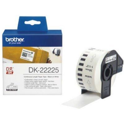 Бумажная лента Brother DK22225 для наклеек белая (38мм х 30,48м) для QL-570 (DK22225)Пленки к принтерам для этикеток Brother<br>неразрезанная<br>