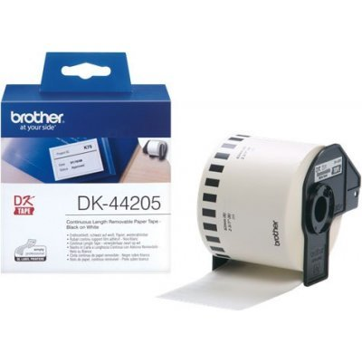 Бумажная лента Brother DK44205 для наклеек отделяемая, белая (62мм х 30,48м) для QL-570 (DK44205)Пленки к принтерам для этикеток Brother<br>неразрезанная<br>