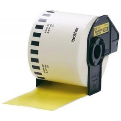 Бумажная лента Brother DK44605 для наклеек отделяемая, жёлтая (62мм х 30,48м) для QL-570 (DK44605)Пленки к принтерам для этикеток Brother<br>неразрезанная<br>