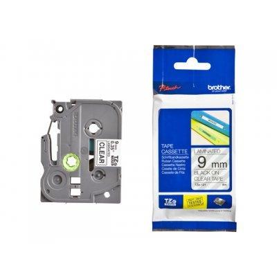Пленка в кассете Brother TZE121 для PT-1010/1280/1280VP/2700VP/2430PC/9700PC (TZE121)Пленки к принтерам для этикеток Brother<br>чёрный шрифт на прозрачной основе, ширина 9мм<br>