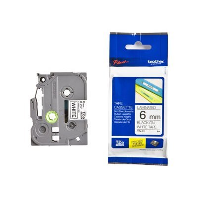 Пленка в кассете Brother TZE211 для PT-1010/1280/1280VP/2700VP/2430PC/9700PC (TZE211)Пленки к принтерам для этикеток Brother<br>чёрный шрифт на белой основе, ширина 6мм<br>