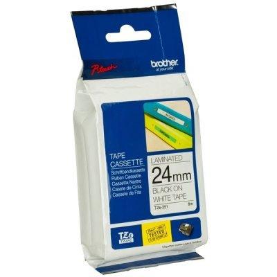 Пленка в кассете Brother TZE251 для PT-2700VP/2430PC/9700PC (TZE251)Пленки к принтерам для этикеток Brother<br>чёрный шрифт на белой основе, ширина 24мм<br>