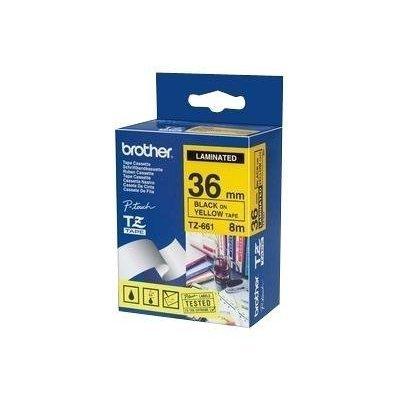 Пленка в кассете Brother TZE661 для PT-9700PC (TZE661)Пленки к принтерам для этикеток Brother<br>Чёрный шрифт на жёлтой основе, ширина 36мм<br>