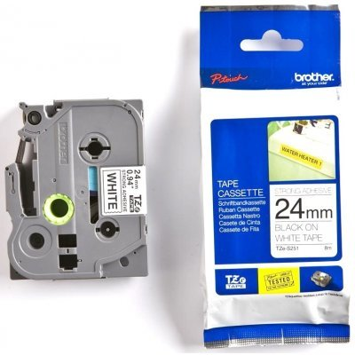 Пленка в кассете Brother TZES251 для PT-2700VP/2430PC/9700PC (TZES251)Пленки к принтерам для этикеток Brother<br>Чёрный шрифт на белой основе, сверхклейкая, ширина 24мм<br>