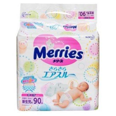 Подгузники Merries 0-5 кг (90 шт.) (359593)Подгузники Merries<br>подгузники<br>для девочек и мальчиков<br>индикатор заполнения<br>