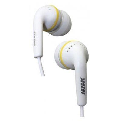 Наушники BBK EP-1240S белый (EP-1240S)Наушники BBK<br>Вкладыши, длина кабеля 1,2 м<br>