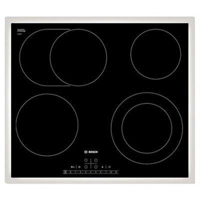 Электрическая варочная панель Bosch PKN642F17R (PKN642F17R)Электрические варочные панели Bosch<br>Встраиваемая, 5.7x60x52, стеклокерамическая поверхность, независимая, рамка-белый, цвет: черный<br>