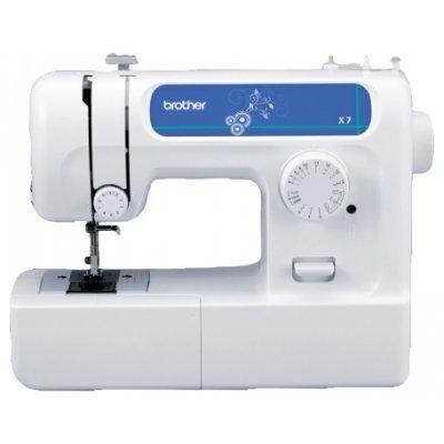 Швейная машина Brother X-7 белый (X-7)Швейные машины Brother<br>электромеханическая, ротационный горизонтальный челнок, швейных операций - 14, петля-полуавтомат<br>