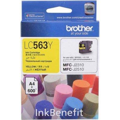 Картридж Brother LC563Y желтый для MFC-J2510 (600 стр) (LC563Y) картридж brother lc565xlm magenta для mfc j2510 mfc j2310 mfc j3720 mfc j3520