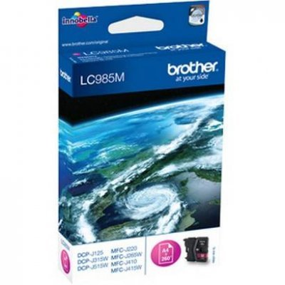 Картридж Brother LC985M пурпурный для DCP-J315W/J515W/J265W черный (260стр) (LC985M)Картриджи для струйных аппаратов Brother<br>струйный<br>