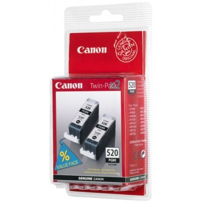 Картридж Canon PGI-520BK черный Pixma iP3600/4600/MP540/620 2шт*19ml. (2932B012) (2932B012) картридж струйный canon pgi 520bk черный для canon ip3600 4600 mp540 620 630 980