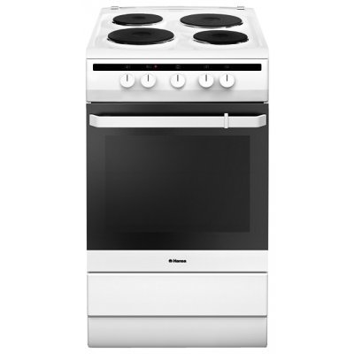 Электрическая плита Hansa FCEW53001 белый (FCEW53001)Электрические плиты Hansa<br>Ширина 50см; 4 электрических конфорки, электрическая духовка 3 программы нагрева, откидная крышка посудного ящика<br>