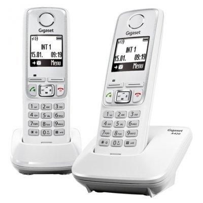 Радиотелефон Siemens Gigaset A420 Duo белый (L36852-H2402-S302)Радиотелефоны Siemens<br>DECT, монохромный с подсветкой<br>