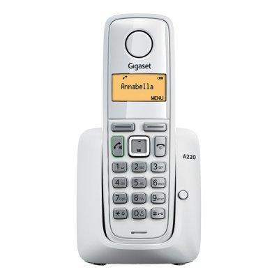 Радиотелефон Siemens Gigaset A220 белый (S30852-H2411-S302)Радиотелефоны Siemens<br>DECT монохромный с подсветкой, АОН<br>