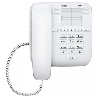 Проводной телефон Siemens Gigaset DA410 белый (S30054-S6529-S302) радиотелефон gigaset da310 white проводной s30054 s6528 s302