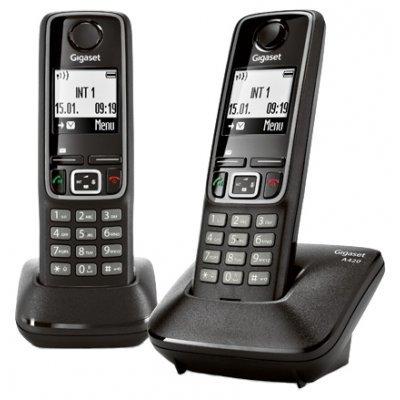Радиотелефон Siemens Gigaset A420 Duo черный (L36852-H2402-S301)Радиотелефоны Siemens<br>DECT, монохромный с подсветкой,  АОН<br>